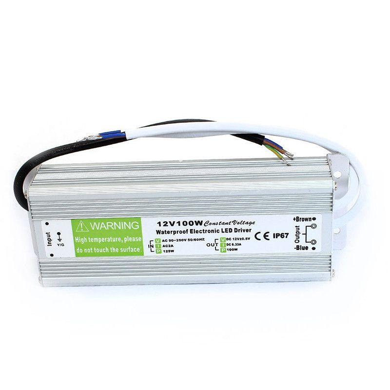 Ücretsiz Kargo Yeni Yüksek verimlilik 12 V 24 V 100 W Su Geçirmez IP67 LED Sürücü Trafo Güç Kaynağı AC 110 ~ 260 V Açık Kullanım Için