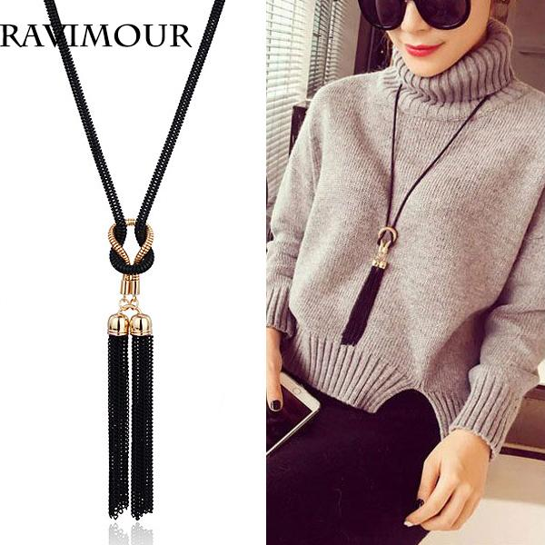 Wholesale ravimour long necklace gold black chains for Jh jewelry guarantee 2 years