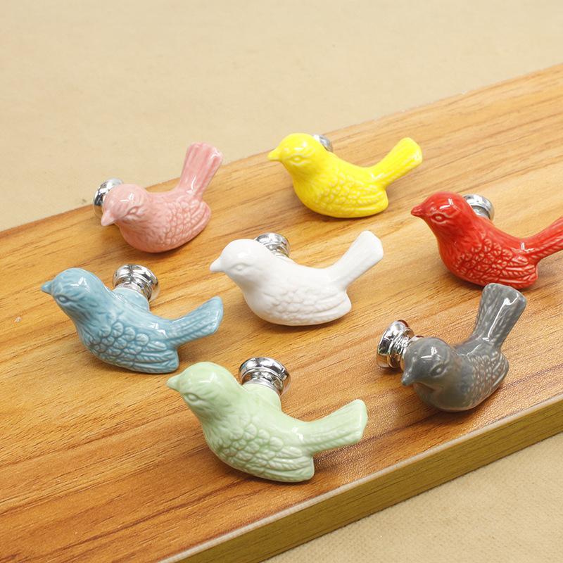 Vintage Pássaro De Cerâmica Maçaneta Da Porta Do Armário Do Armário Da Sala de Crianças Gavetas Da Porta Móveis de Cozinha Casa Pull Handle