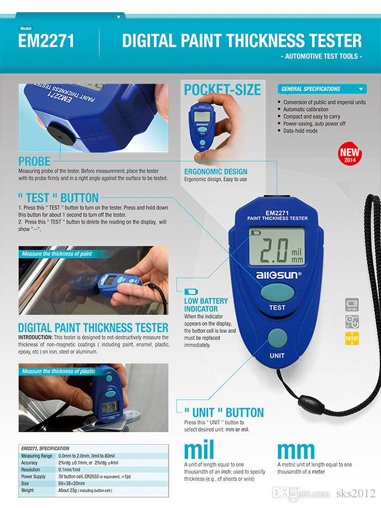 Mini Car paint thickness tester measurement Digital LCD Coating thickness gauge Car Auto painting tester meter