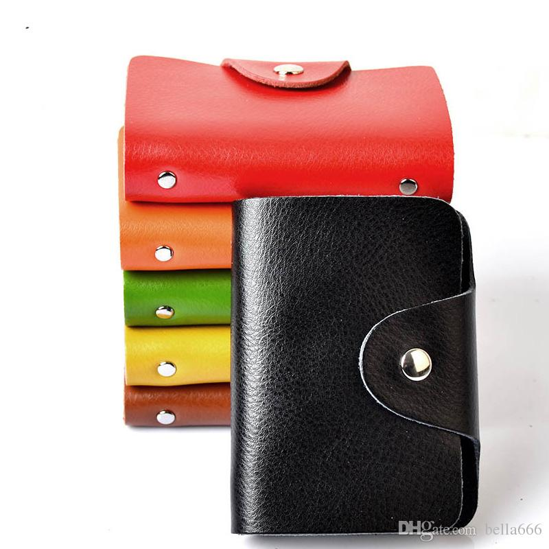 Soft Genuine Leather Cowhide Holder Business Card Case Hasp Credit ...