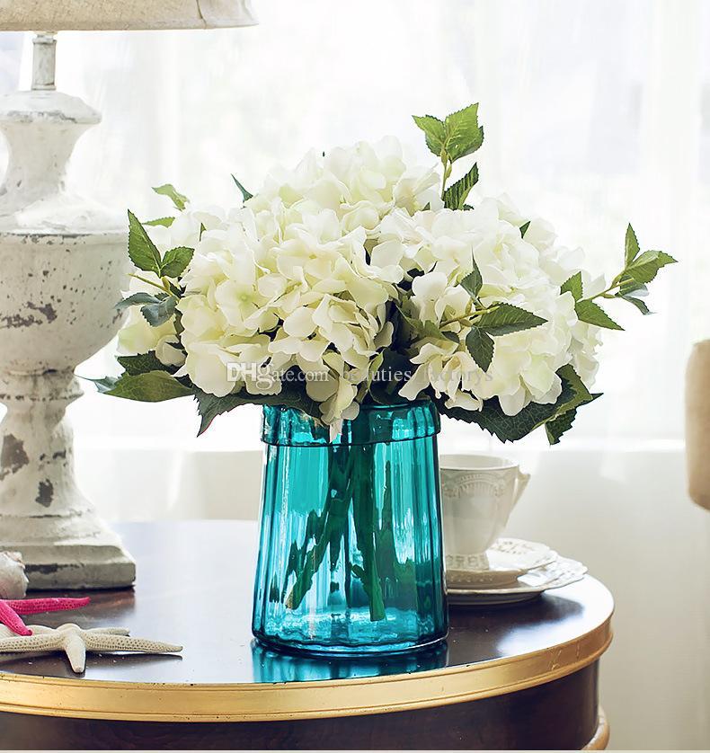 Искусственная гортензия шелковый цветок 18 см декоративные цветы венки домашнего сада декор партии фальшивые растение свадебные украшения