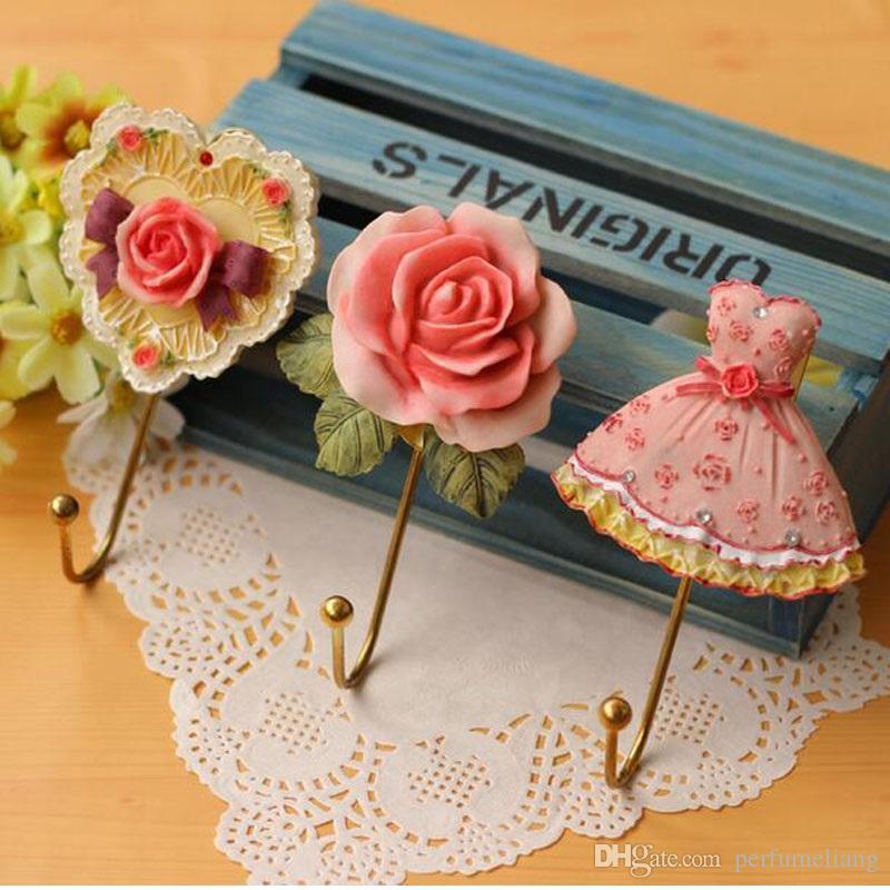 Прекрасная роза декор настенная вешалка для полотенец ретро пальто держатель юбки розовый цветок кухня вешалки для полотенец ванной ZA3020