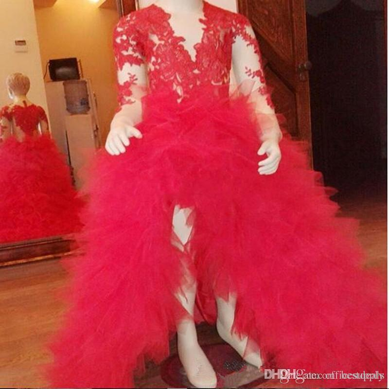 Lovely Red Maniche lunghe Appliqued Hi Lo Tiers Baby Girl Birthday Party Natale Bambini Ragazza Abiti Pageant Flower Girl Abiti economici