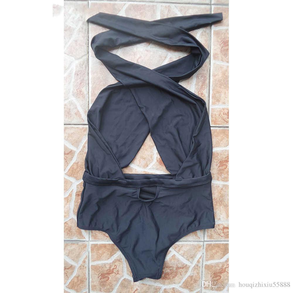 Negro blanco Sexy cross wrap halter neck traje de baño de cintura alta 1 pieza de una pieza traje de baño de una sola pieza de baño monokini