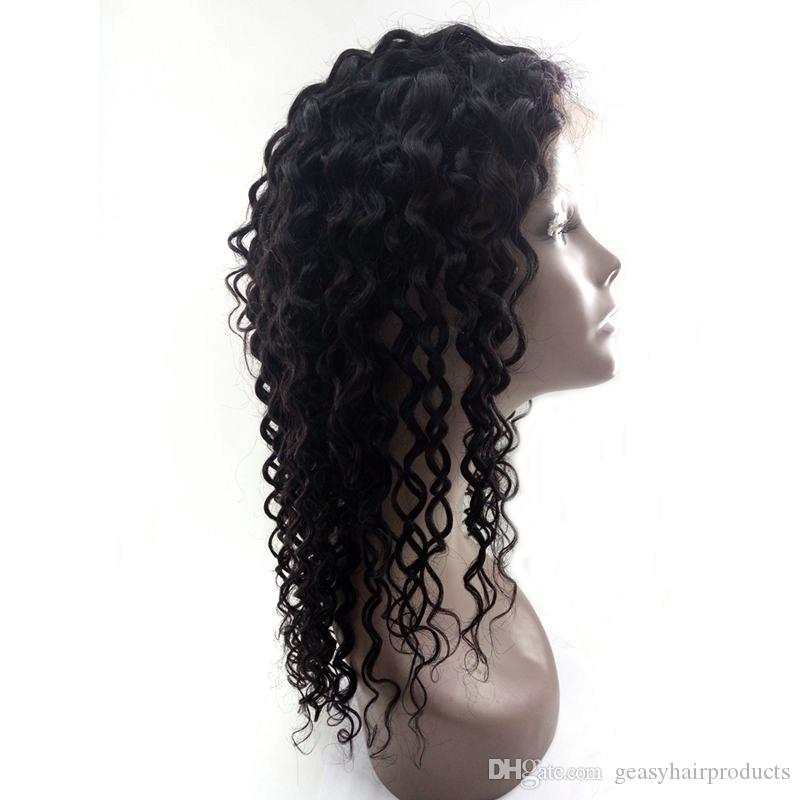 U Part Wigs Brazilian Human Hair Natural Hairline Deep Wave Lace Front Wigs 8 -26inch G-EASY
