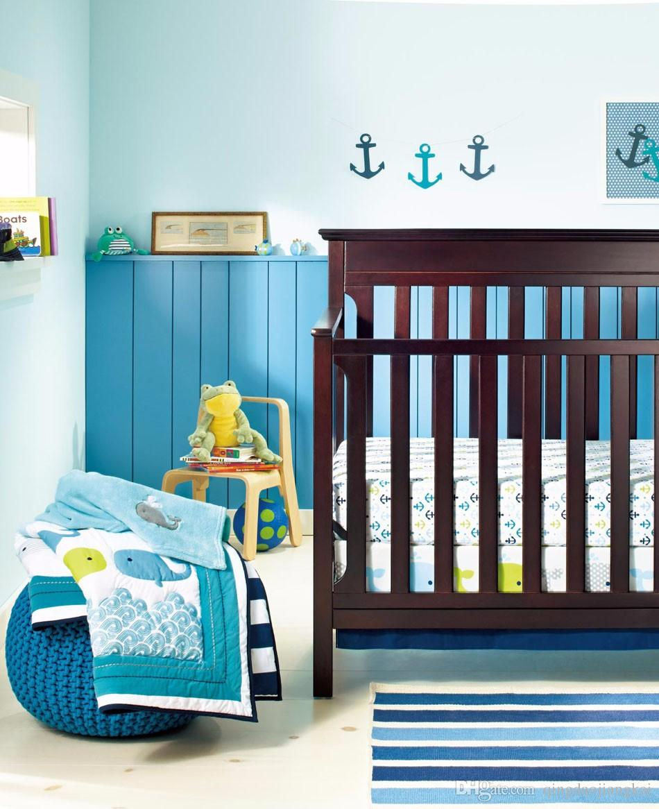 Baby Bedding Set Embroidery 3D Ocean Whale Baby Crib Bedding Set Cotton Quilt Bedskirt Bumper Blanket Crib Bedding Set