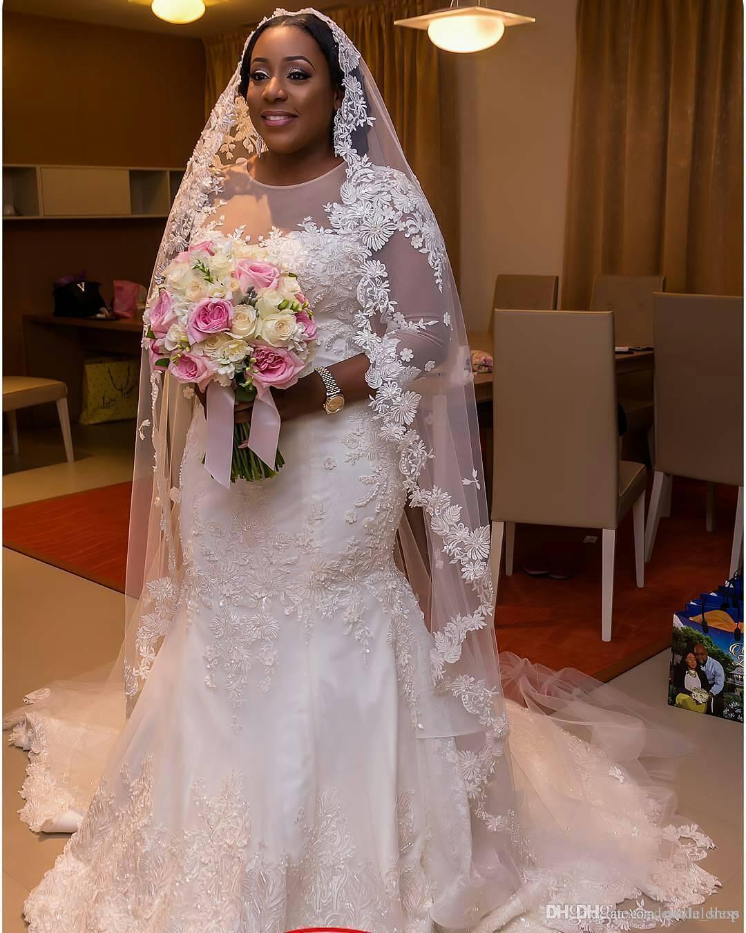 2021 África Plus Size Sereia Vestidos de Noiva Jóia 3/4 Manga Longa Varredura de Varredura Ilusão Bodice Appliques Frisado Capela Country Vestidos Noiva