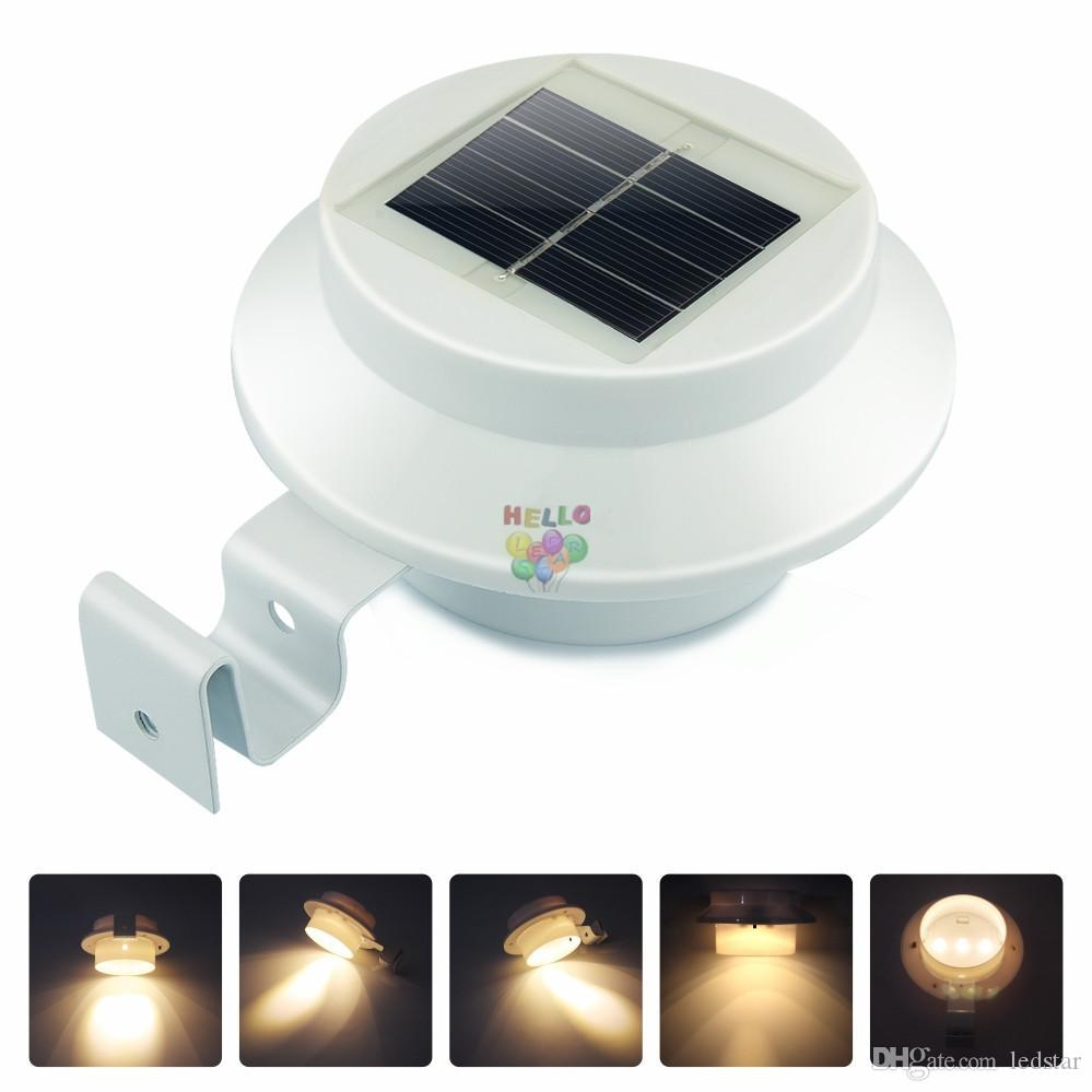 3 Leds Solar Powered Lamp Cool White/Warm Light Waterproof Street ...