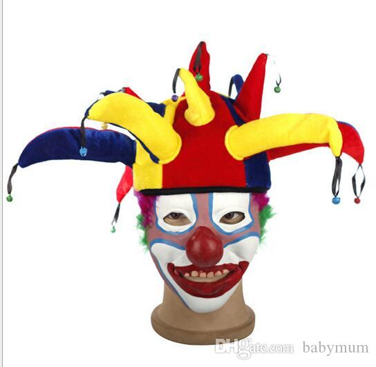 halloween costume funny clown cap performance props child adult headgear 13 angle clown hat masquerade ornament for football party hats kids props hat