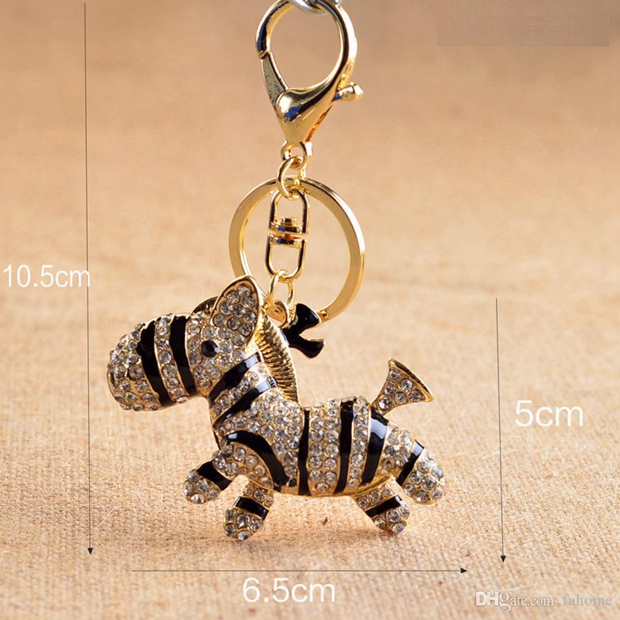 Zebra Horse Crystal Rhinestone Pony Metal Women Bag Pendant Key Chains  Holder Keyrings Keychains For Car Keys Zebra Horse Crystal Rhinestone  Keychain Pony ... cbb2bff405