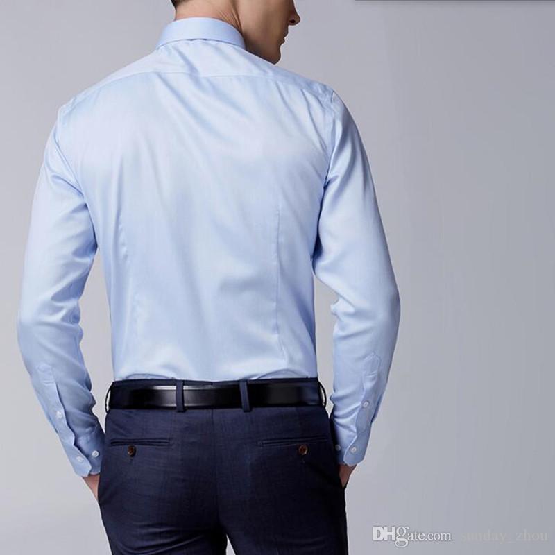 Tailor made men shirt long sleeve groom shirt blue simple generous business leisure fashion party tuxedo shirt