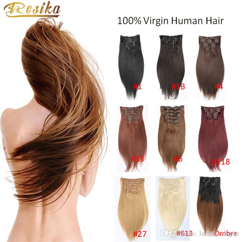 2017 New Style Brazilian Straight Hair Extensions Blond 16clips