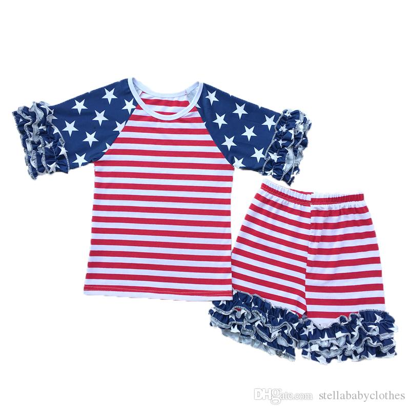 Striped Ruffle Baby Girls Clothes American Patriotic Day Girls Clothing set Cute Newborn Clothes Icing Girls Tees Short Set