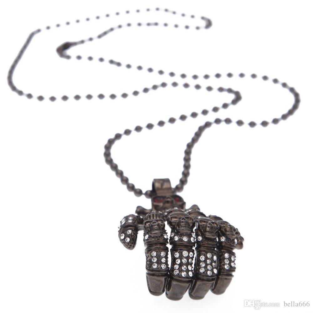 Arma preta Fresco Tamanho Grande Mãos de Esqueleto Colar de Pingente de Cristal BrancoVermelho Pedrinhas Do Vintage Longo Rosário Talão Colares Homens Jóias Crânio