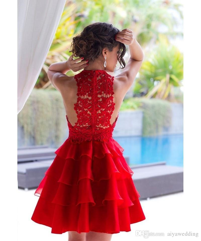 2019 매력적인 레드 칵테일 드레스 빈티지 레이스 짧은 미니 홈 커밍 가운 보석 넥 티어 Organza 무릎 길이 파티 파티 파티 드레스
