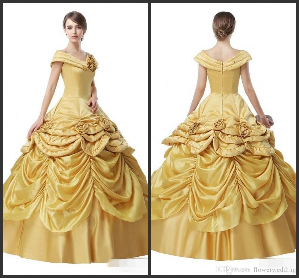 New Yellow Satin Off The Shoulders Ball Gown Prom Dresses 2018 ...