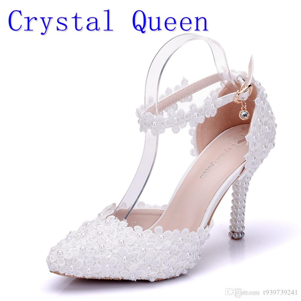 a3c5d6c89d3 Crystal Queen Wome Sandals Wedding Shoes White Lace Flower Wristband Bridal  Shoes Pointed Toe Thin Heels Satin Female Shoes Gold Wedges Red Wedges From  ...