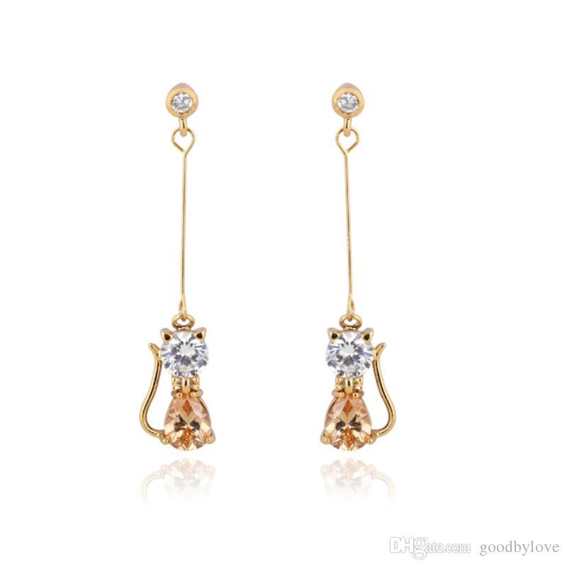 i giallo / oro bianco placcato CZ filo lungo gattino gatto amuleti orecchini le donne gioielli da sposa aros pendientes