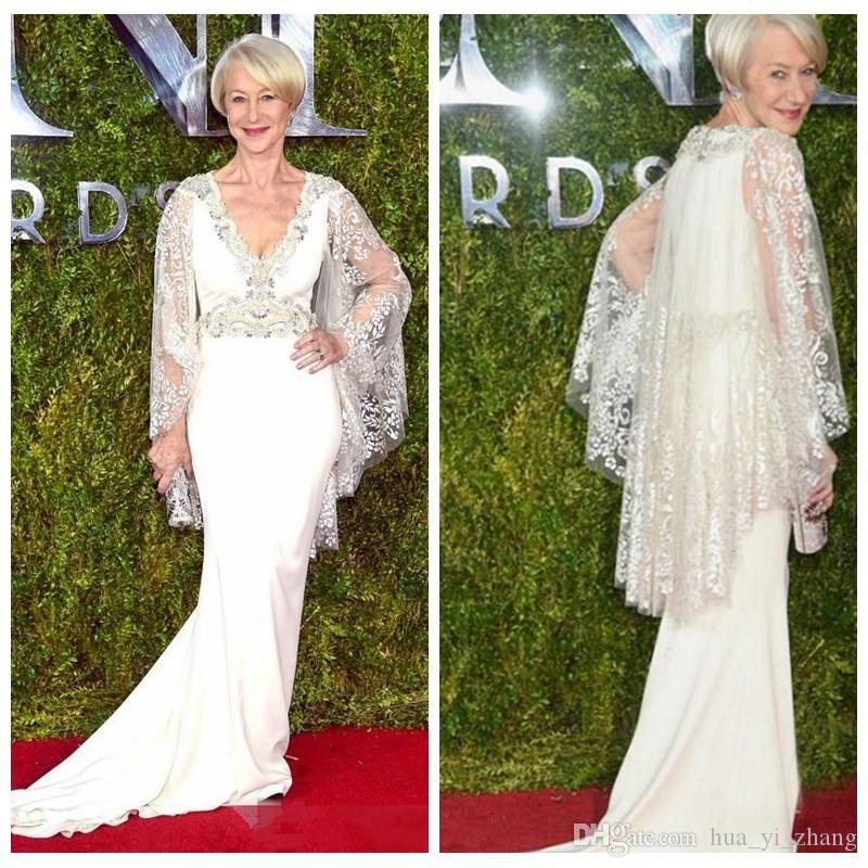 2016 Helen Mirren Celebrity Dresses Tony Awards Gorgeous Evening Gowns Mermaid Lace Long Sleeves Beaded Mother Of The Bride Dress