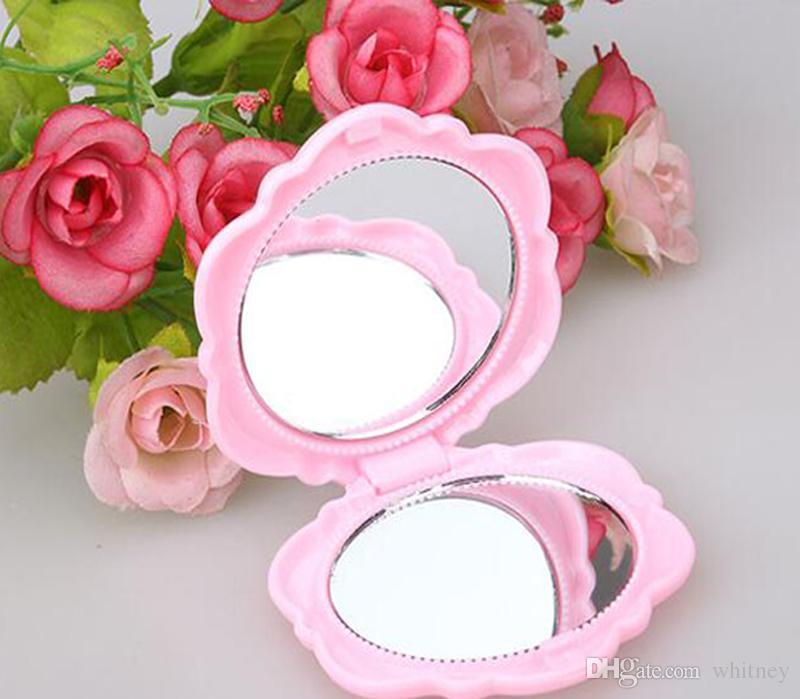 Neue 3D Rose Kompakter kosmtischer Spiegel Netter Mädchen Makeup Mirror MD51 / Freies Verschiffen