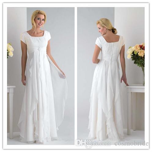 2017 Plus Size Wedding Dresses Chiffon Square Neck Cap Sleeve Zipper ...