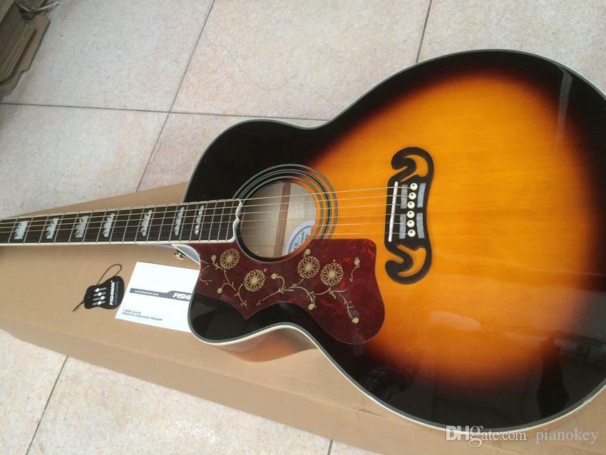 Frete grátis canhoto de 43 polegadas Jumbo Sunburst cor guitarra acústica, spruce top sólidos, China fez guitarras J200