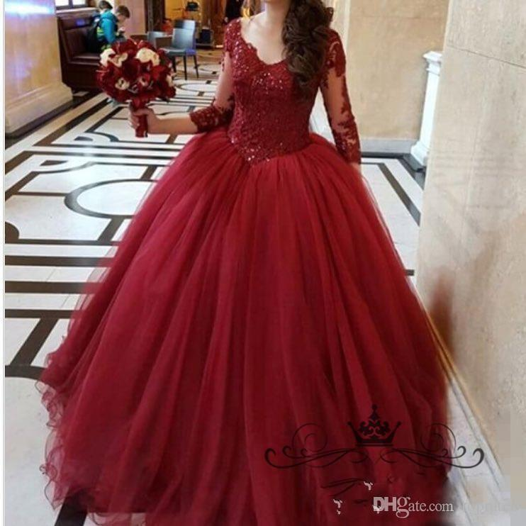 Burgundy Wine Red 2017 Ball Gown Wedding Dresses V-Neck