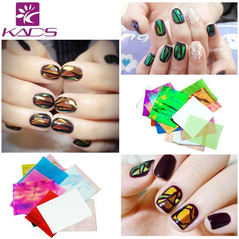 Wholesale Kads Glitter Nail Art Foils Paper Candy Colors Broken
