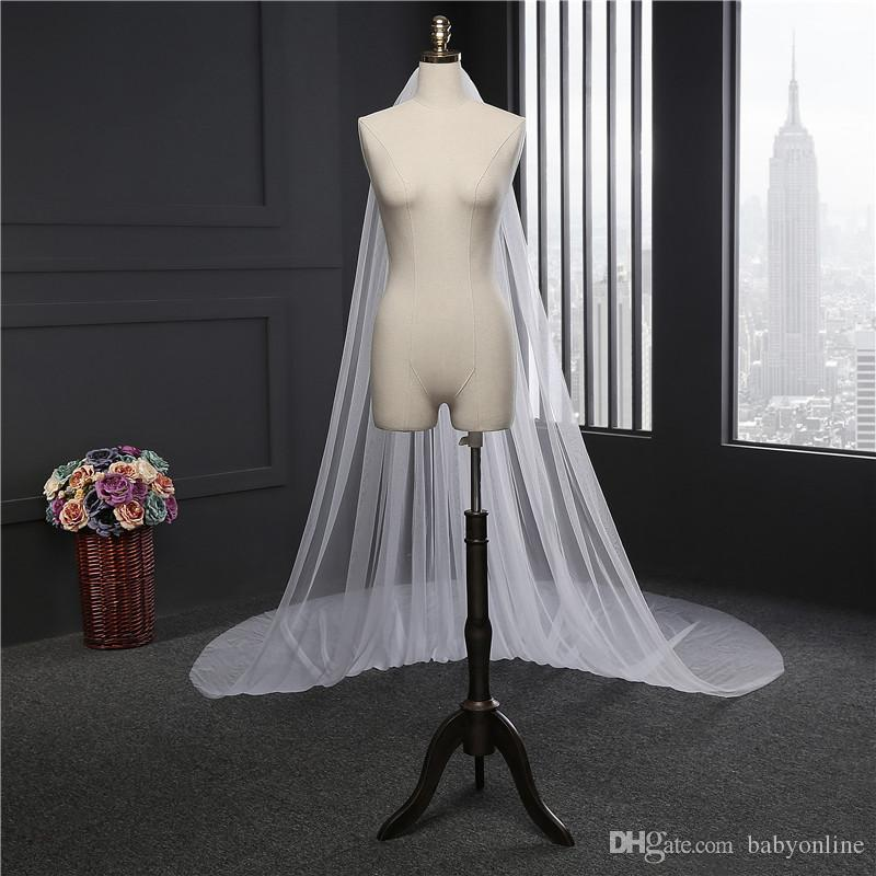 2017 Cathedral 3 Meters Long Veils for Summer Beach Weddings In Stock White Ivory Bridal Veils Under $8 CPA887