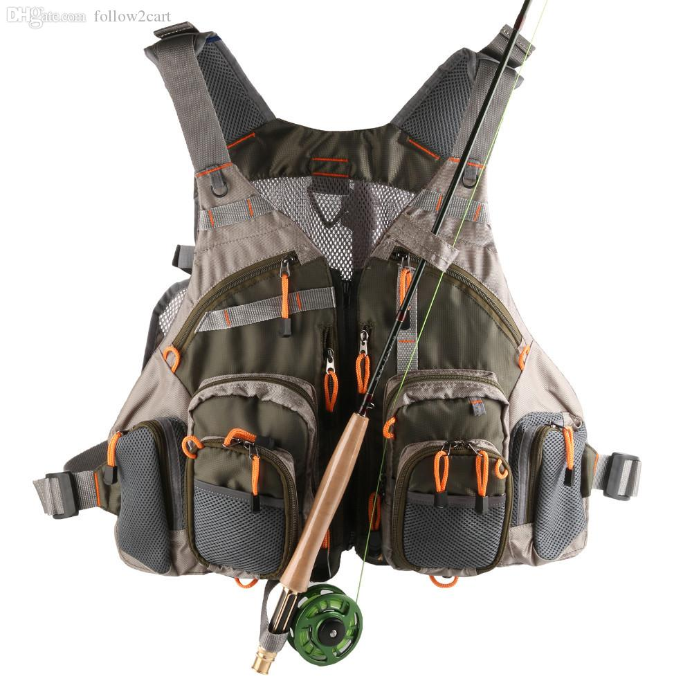 Envío gratis profesional múltiples bolsillos de malla mosca pesca chaleco mochila multifuncional hombres chaqueta deportiva exterior ejército verde
