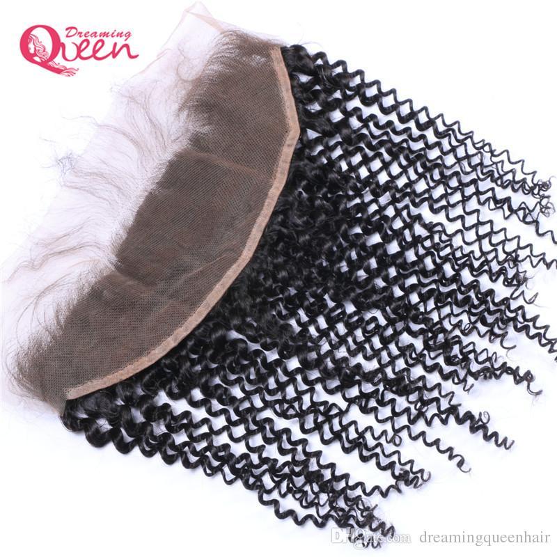 Chiusura anteriore dei capelli mongolo vergine mongolo chiusura frontale pizzo capelli umani mongolo con i capelli del bambino nodi candeggiati chiusura può essere tinto