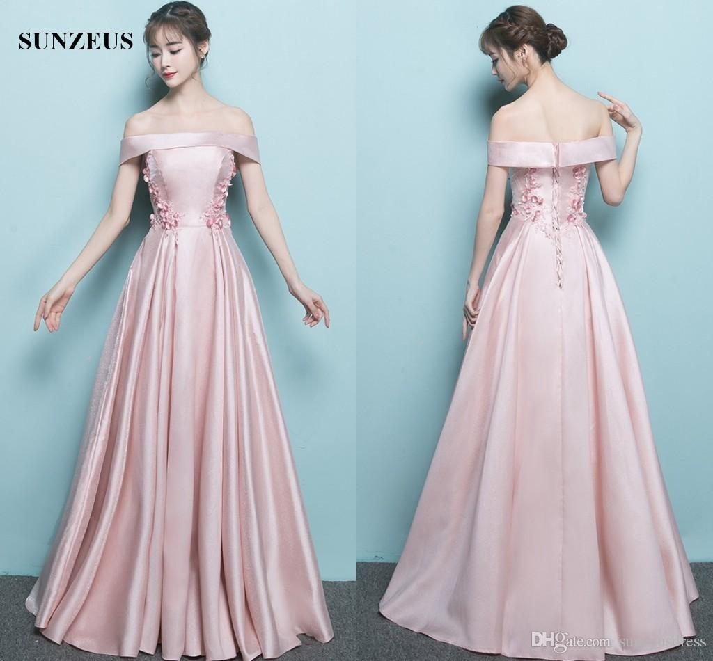 Long Pink Evening Dresses Satin A Line Boat Neck Off Shoulder Formal ...