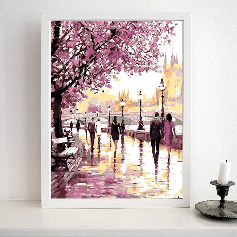 DIY Painting Digital Hand Oil Painting Bedroom Living Room Restaurant Art  Study Decor Plant Flowers Cherry Blossoms Canvas Wall Art Frame