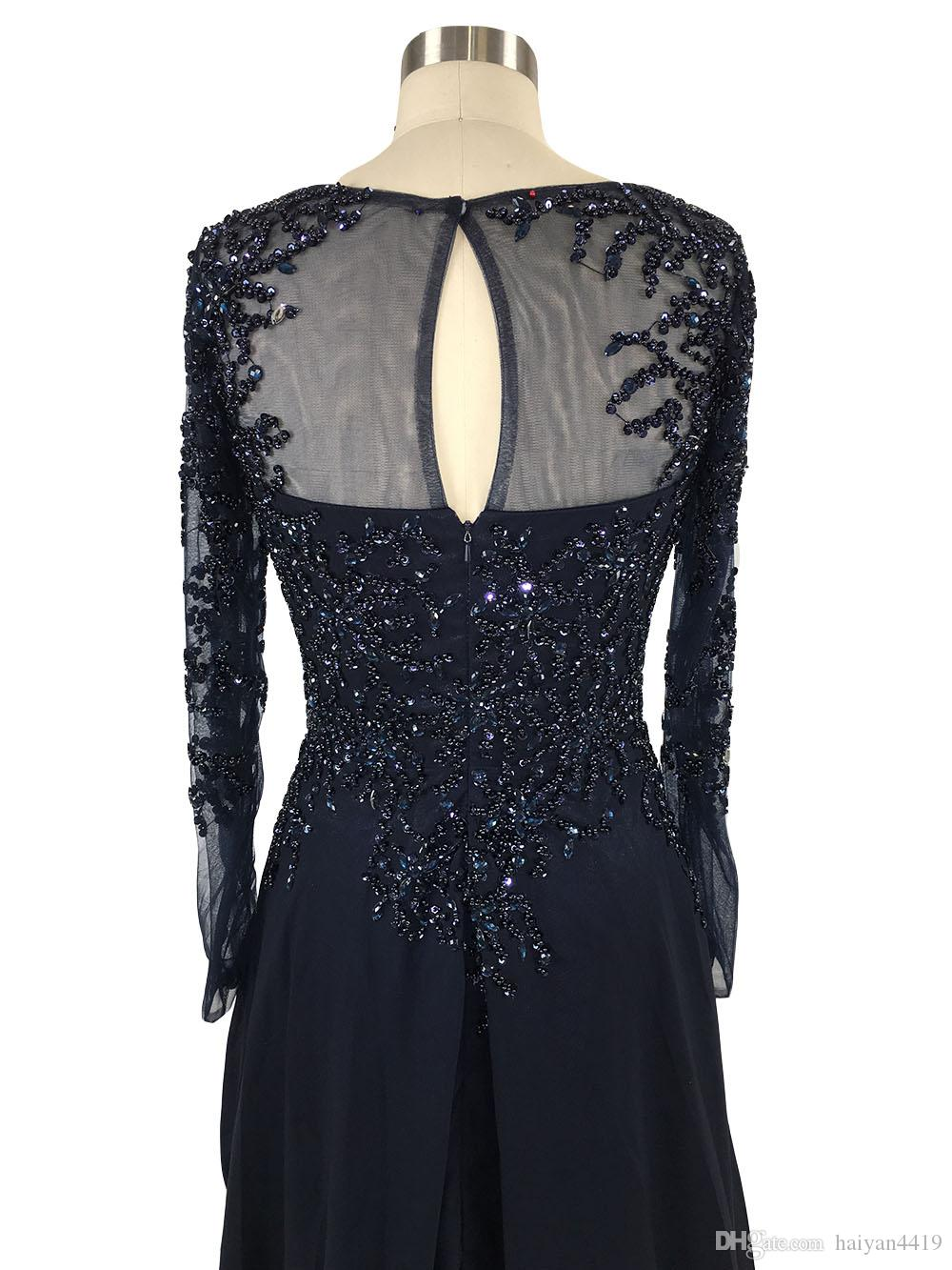 2020 New Sexy Navy Blue Mother Of Bride Dresses Long Sleeves Lace Appliques Cryystal Beads Floor Length Chiffon Bride Wedding Guest Dreses