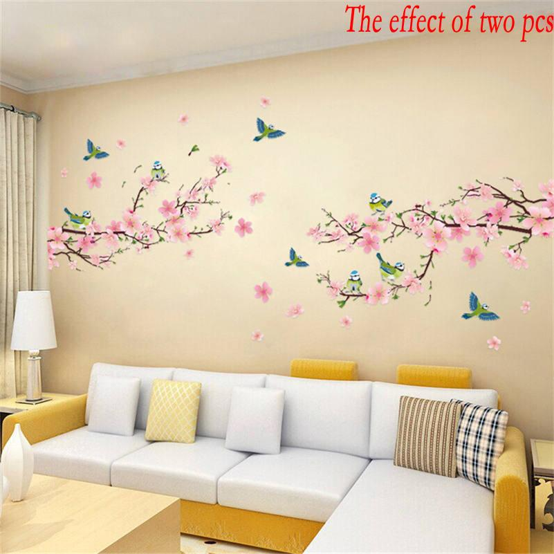 Wholesale Sakura Wall Stickers Kids Rooms Bedroom Living Room DIY Art PVC Beautiful Flower Tree Removable Wallpaper Home Decor New And Decals