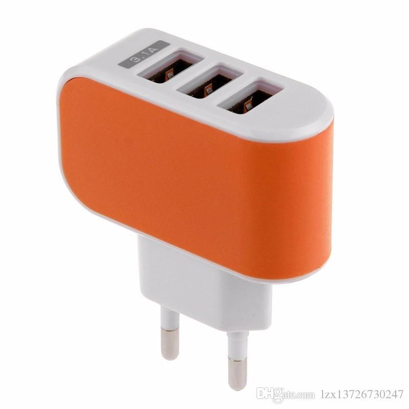 ABD, AB Tak 3 USB Duvar Şarj 5 V 3.1A LED Adaptörü Seyahat Cep Telefonu Için üçlü USB Portları ile Uygun Güç Adaptörü