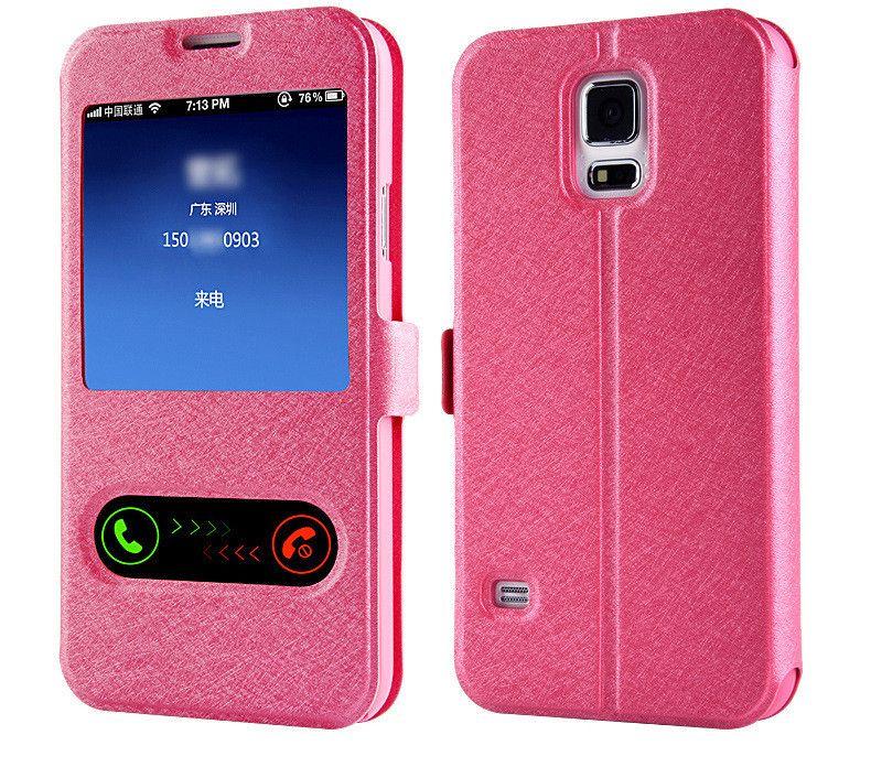 Caso di vibrazione in pelle vista frontale anteriore di lusso Samsung Galaxy S8 Grand Prime G530 S8 Plus S7 S6 Edge Plus S4 S5
