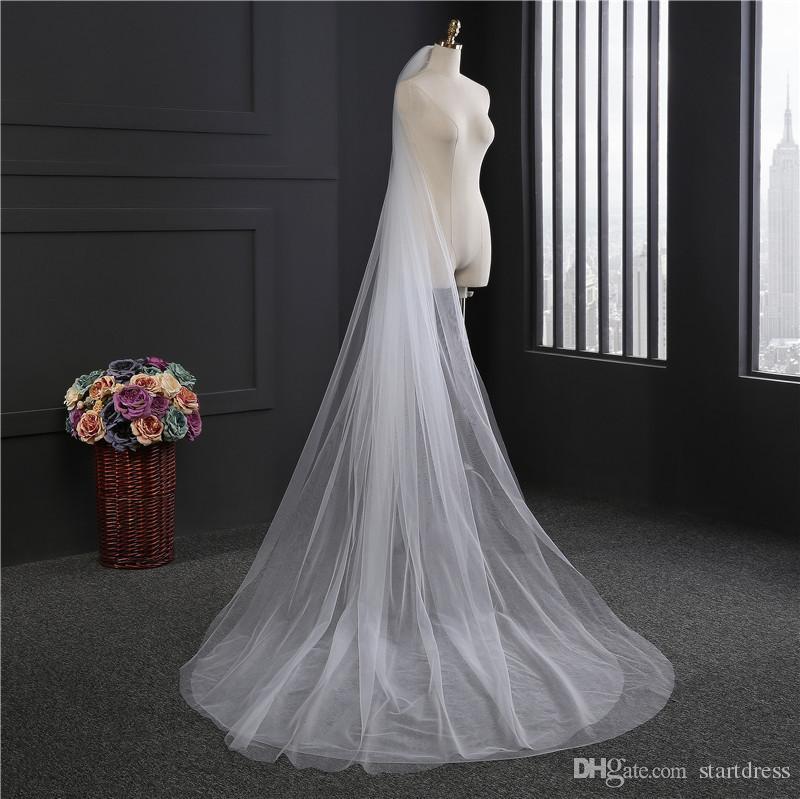 2017 nuovo arrivo bianco avorio 3m velo da sposa all'ingrosso cattedrale lunghi accessori da sposa a due strati tagliare ege semplice desin veli da sposa
