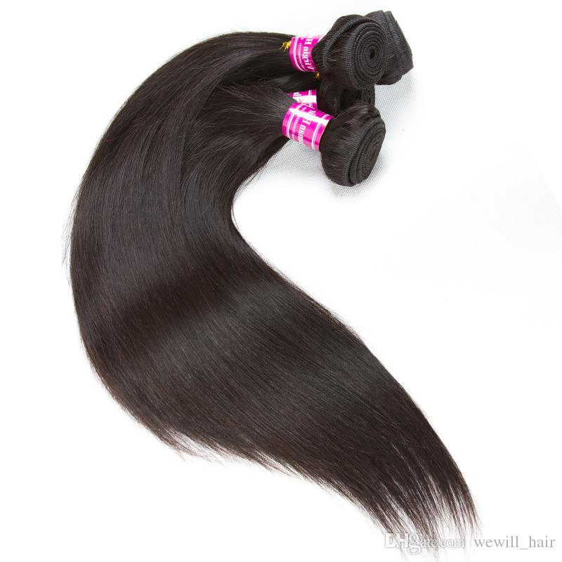 100% Unprocessed Malaysian Human Hair Extension Straight Body Wave Natural Black OR Brazilian peruvian Hair Weave