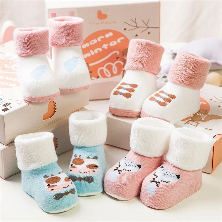 Tiny Alpaca New Baby Socks Warm Winter Thickened Terry Cotton