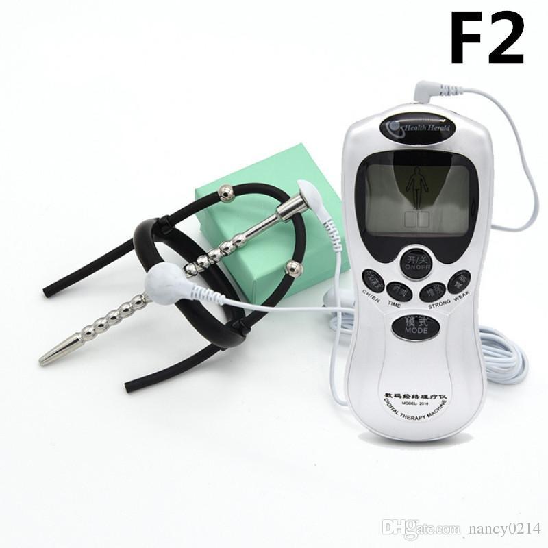 Temática médica de juguete Glande Anillo de silicona 2 Cuentas Pene Anillo de gallo Uretral Enchufe Dispositivo de castidad Electirc Electro Shock Toy I9-191