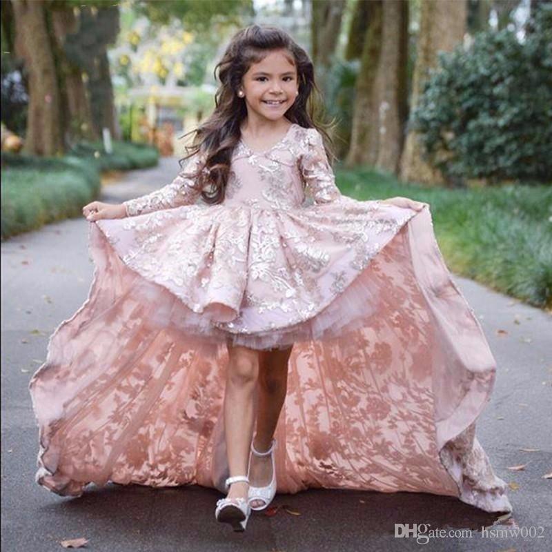 Lace Little Real Photo Blumenmädchenkleider mit Full Sleeves vorne kurz lang zurück Abendkleid Kinder Schönheitswettbewerb Kleider für kleine Mädchen