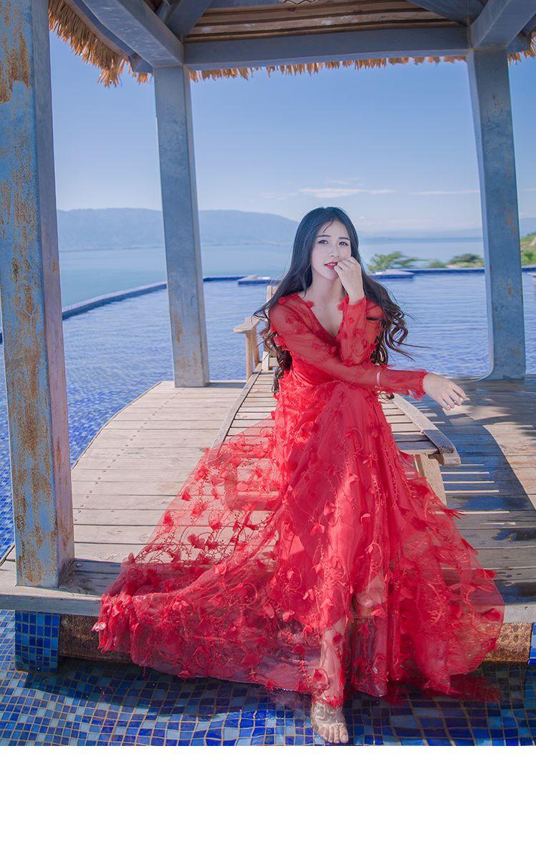 1b8f38283e1 2019 Wholesale 2017 Spring Summer Women S Stereo Flowers Fairy Long Sleeve  Vintage Long Dresses Elegant V Neck Formal Party Maxi Dress White Red From  Jc801