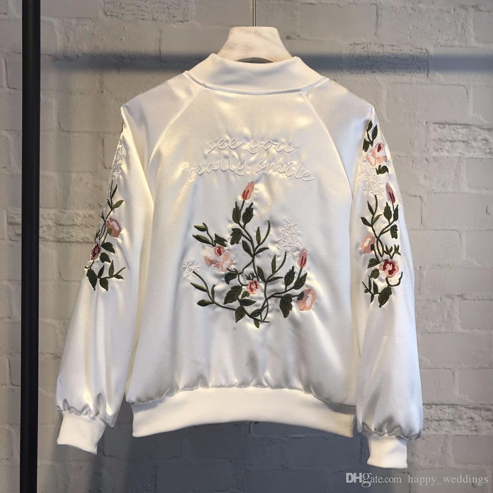 2018 Chaqueta de bordado de las mujeres Marca Tops Estampado de flores Chica más el tamaño de béisbol ocasional Sudadera Bomber mangas largas Chaquetas de la capa