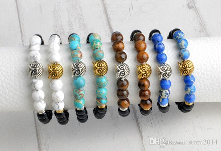 Mischauftrag Eule Buddha Perlen Armbänder Armreifen Charme Naturstein Armband Yoga Schmuck Männer Frauen Freies Verschiffen