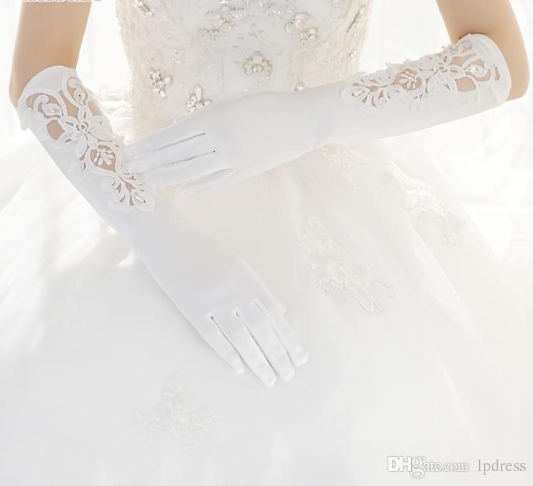 Marfim Luvas de Noiva Longo Acessórios Do Casamento Sheer com Applique Casamento Glvoes 2017 New Arrival Barato Frete Grátis
