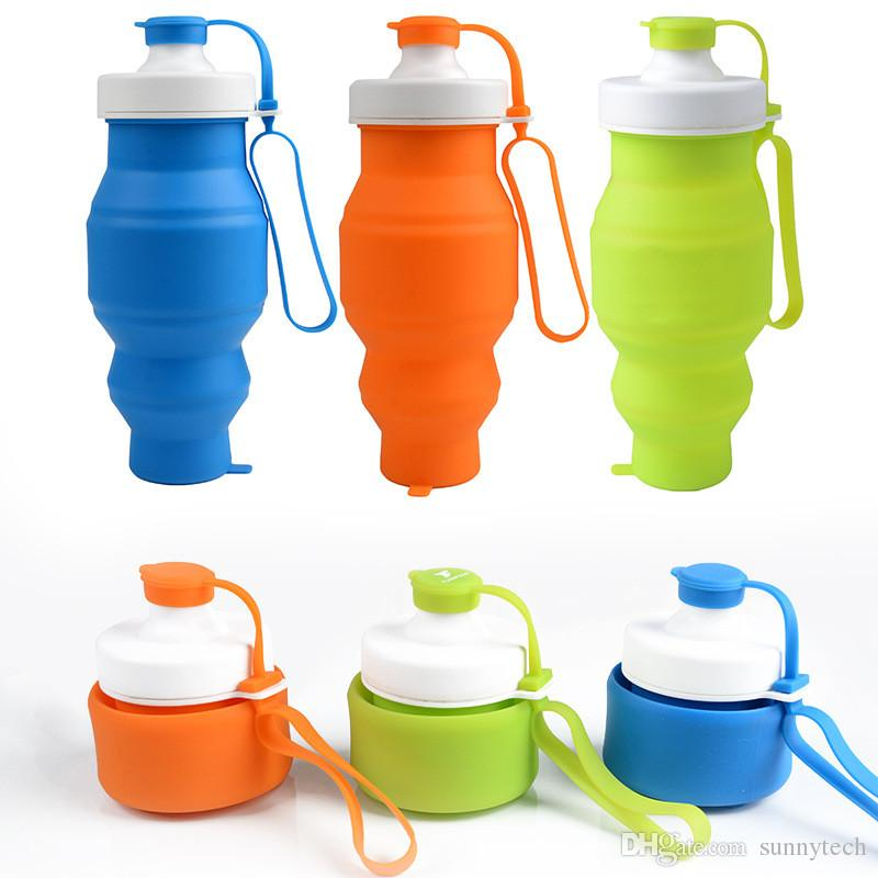 Fahrrad-Wasser-Flaschen-Silikagel-faltende Reise im Freien Die bewegliche faltbare Wasser-Flaschen-Sport-Radfahrenwasser-Flaschen LZ0406