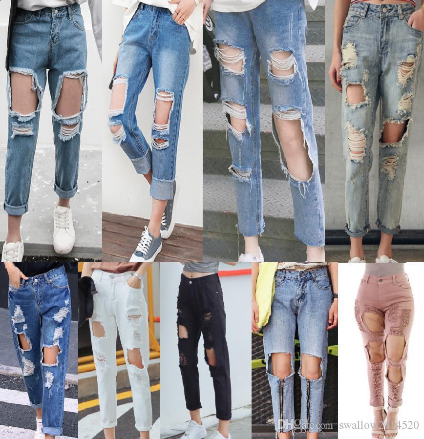 1b64fdbcfd482 2017 mulheres furos do vintage jeans rasgado boyfriend jeans para as  mulheres calças femininas denim retro capris calças de moda europeia calças  casuais ...