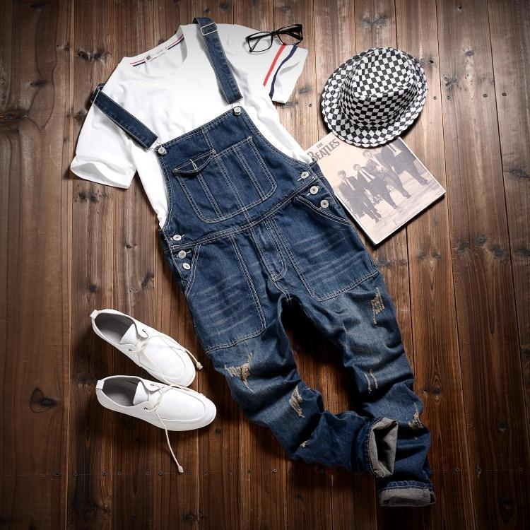 55d2da85c80 2019 Wholesale 2016 Hot Sale Male Cotton Jean Denim Jumpsuit For Men One  Piece Mens Bib Overalls Fashion Jumpsuit Salopette Homme Black Blue From  Yabsera